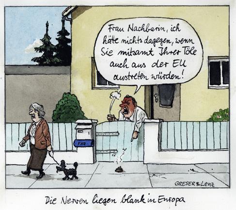 Brexit, Nachbarin mit Hund