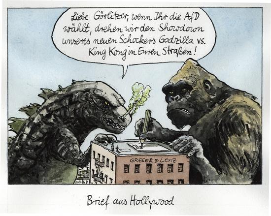 Görlitz, AfD, Godzilla, King Kong